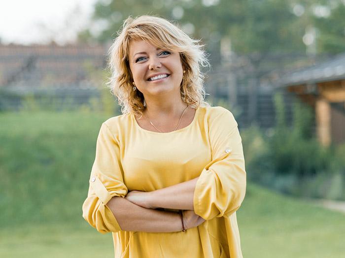 happy female patient outdoors